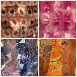 Vintage Silky Scarf Wrap Bundle Print Pattern